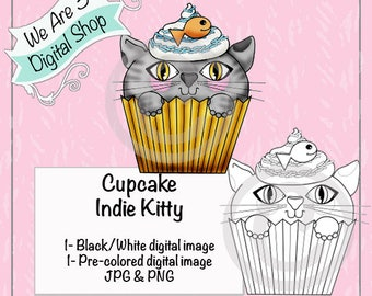 We Are 3, Cupcake Indie Kitty Pre-Colored Printable, Digital Stamp