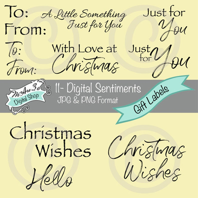 We Are 3 Digital Sentiments  Gift Labels Tags  Christmas image 0