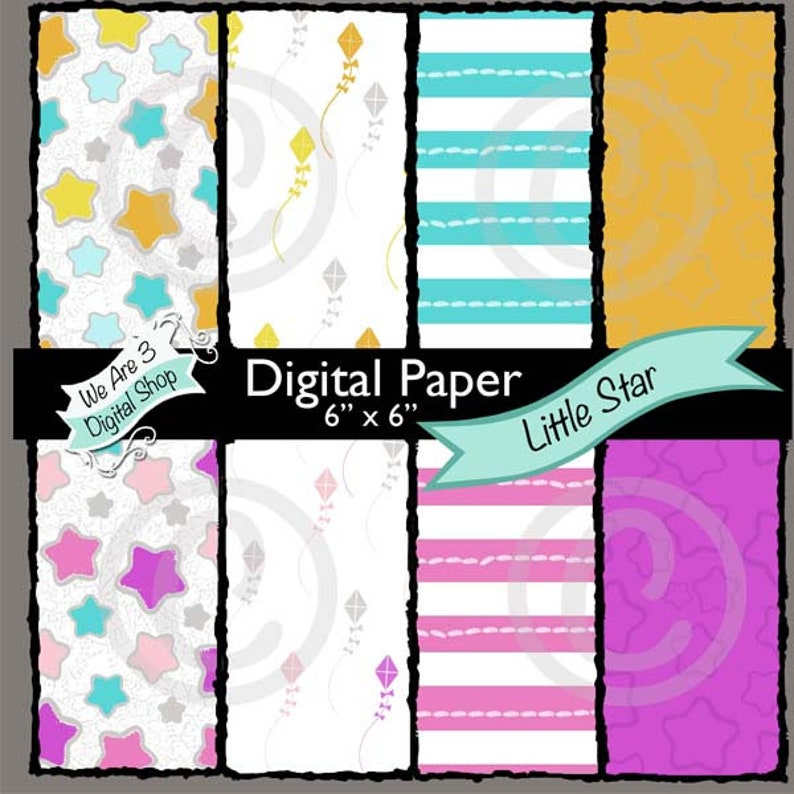 We Are 3 Digital Paper Little Star image 0