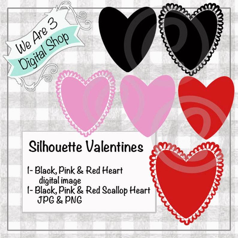 We Are 3 Digital Shop  Silhouette Valentines Hearts image 0