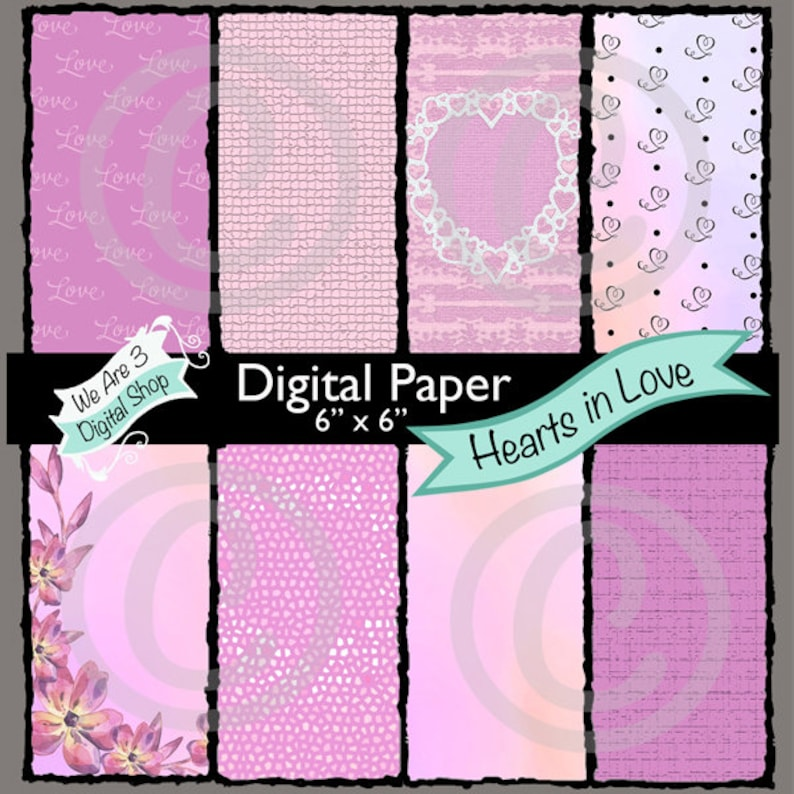 We Are 3 Digital Paper Hearts in Love image 0