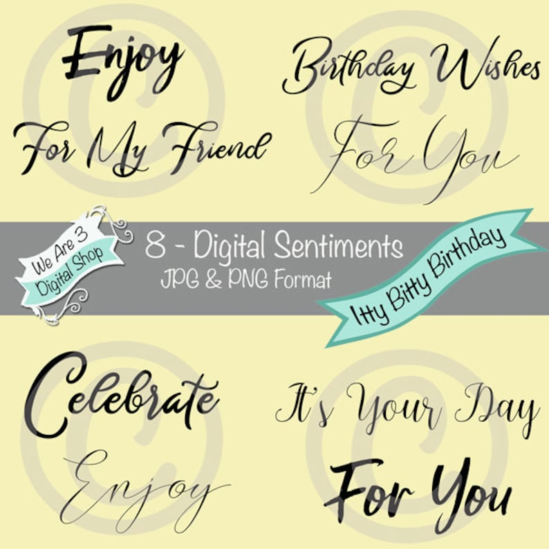 We Are 3 Digital Sentiments  Itty Bitty Birthday  Greetings image 0