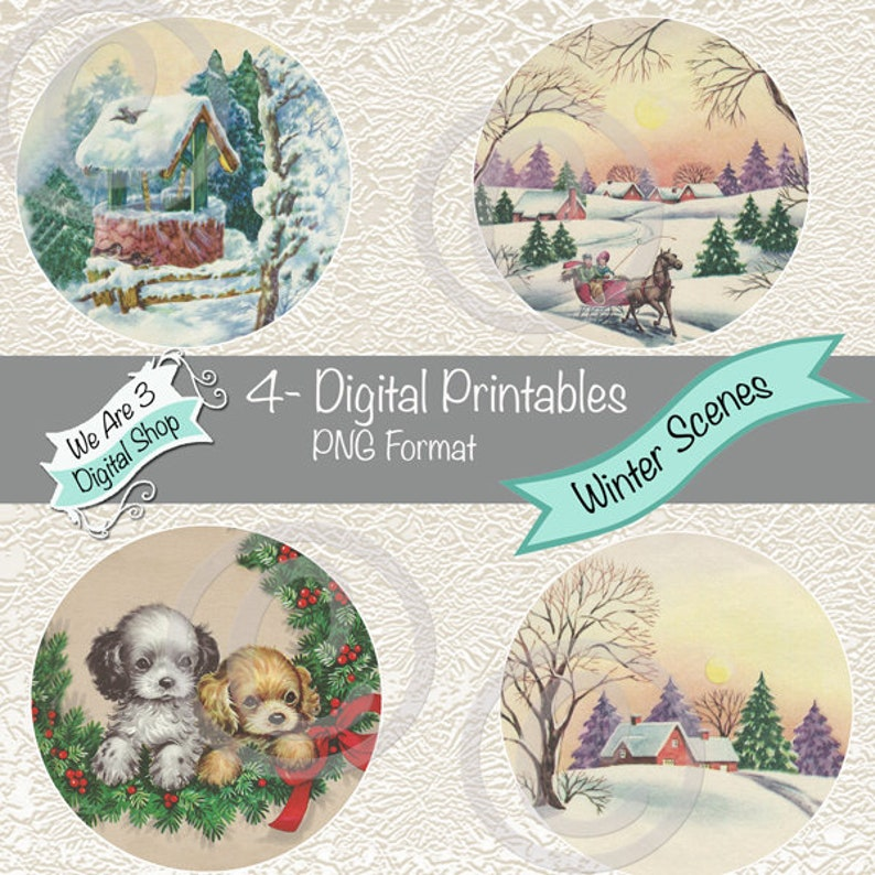 We Are 3 Digital Printables  Winter Scenes image 0