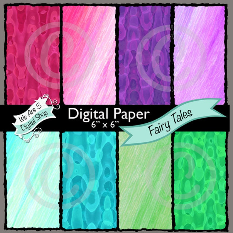 We Are 3 Digital Paper Fairy Tale Modern image 0