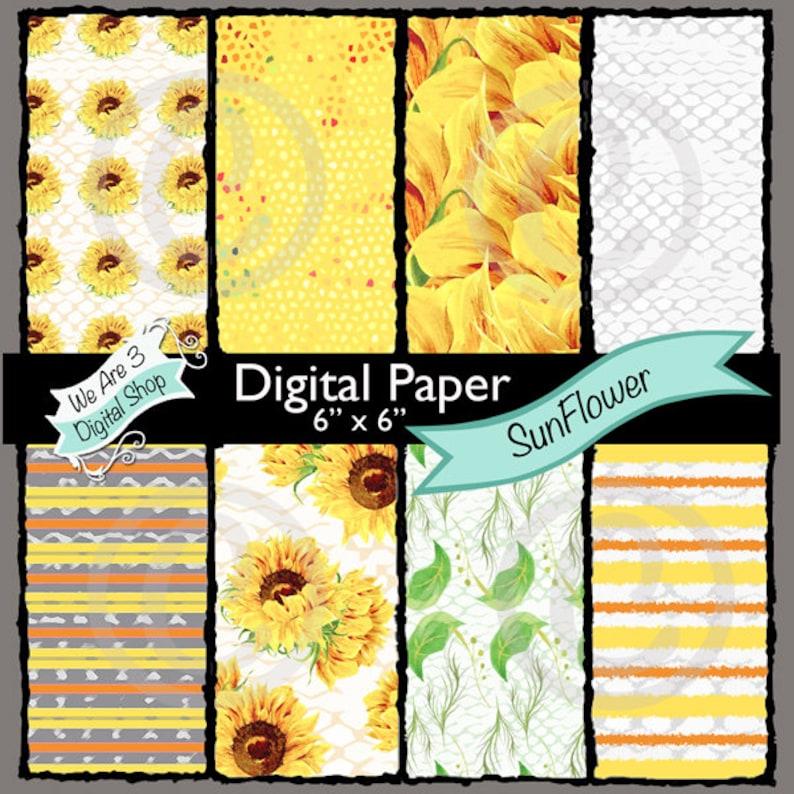 We Are 3 Digital Paper SunFlower Sun Flower image 0