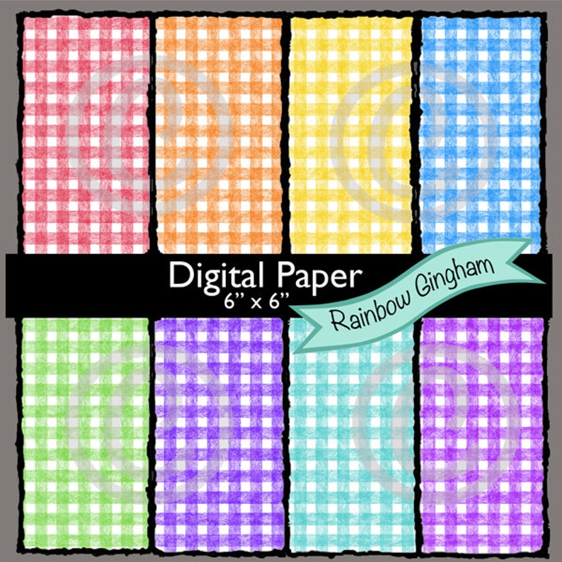 We Are 3 Digital Paper Rainbow Gingham image 0