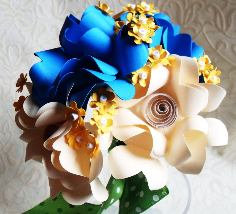 Blue and Yellow Paper Flower Bouquet Off White
