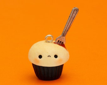 Kawaii Bleeding Halloween Cupcake Charm- Polymer Clay Miniature Food Jewellery