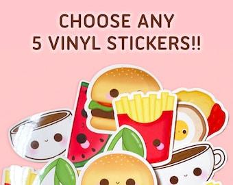 Choose Any 5 Kawaii Vinyl Stickers, Sticker Bundle, Sticker Deal,  Laptop Stickers, Weatherproof, Waterbottle Stickers