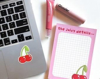 Kawaii Cherry A6 Memo Pad, Kawaii Stationery, Kawaii Memo Pad Notepad, Kawaii Fruit Pink Stationery