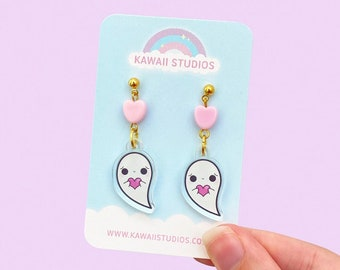 Kawaii Shy Ghost Acrylic Gold Earring - Gold Stud Earrings, Kawaii Earrings, Halloween Earrings, Kawaii Halloween Jewellery