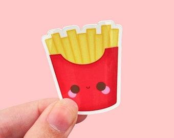 Fries Kawaii Vinyl Sticker, Laptop Sticker Weatherproof, Water Bottle Sticker, Junk Food Sticker, Chips