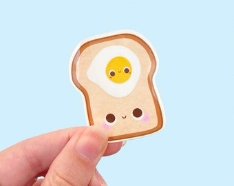 Toast & Egg Kawaii Vinyl Sticker, Glossy Vinyl Sticker, Laptop Sticker Weatherproof, Water Bottle Sticker, Kawaii Breakfast Sticker