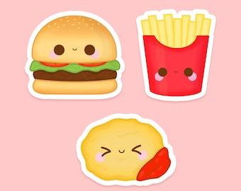 Kawaii Junk Food Vinyl Sticker Pack, Kawaii Stickers,  Sticker Bundle, Sticker Deal,  Laptop Stickers, Weatherproof, Waterbottle Stickers
