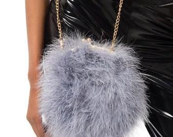 6b6fff90df Grey Fur Clutch Purse