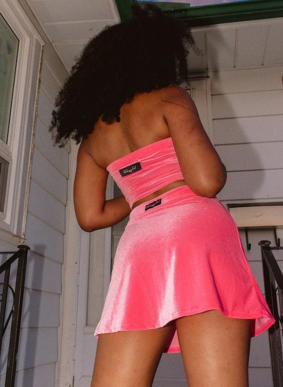 Bubble but mini skirts Pink Velvet Mini Skirt Short Bubble Gum Pink Velvet Velour Etsy