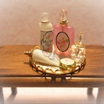 Dollhouse Miniature Vanity Tray with Perfume and Lotions