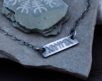 Custom Bar Necklace   Elder Futhark Runes   Norse Jewelry   Personalized Name Plate Necklace   Viking Jewelry Women   Dainty   Minimalist