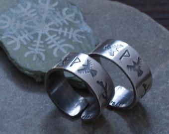 Rune Ring  - Huginn and Muninn - Viking Jewelry - Pagan Wedding Gift - Raven Jewelry - Ansuz - Runes - Spirit Animal
