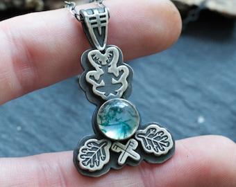 Horned God - Shaman Necklace - Cernunnos Pendant - Bindrune - Bind Rune - Moss Agate Jewelry - Tribal - Druid - Pagan - Viking
