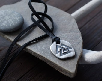 Valknut - Silver Viking Necklace - Fine Silver with Deer Leather Cord