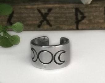 Wiccan Earrings, Ear Cuff, Pagan Earrings, Wiccan Jewelry Goddess, Moon Goddess, Triple Goddess, Triple Moon Goddess, Wiccan Jewelry, Pagan