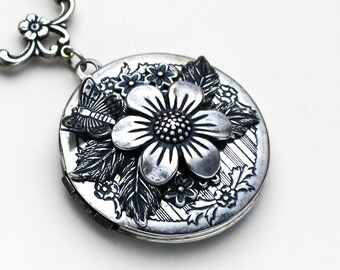 Butterfly Necklace, Floral Jewelry, Flower Necklace Locket, Locket Pendant Photo Locket, Flower Locket Necklaces For Women, Silver Locket