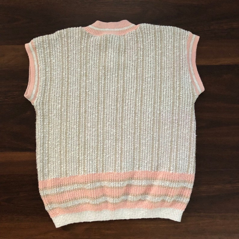 medium sweater shirt short sleeve sweater 80s peach pink sweater small vintage sweater chunky knit tan sweater, 1980s sweater top