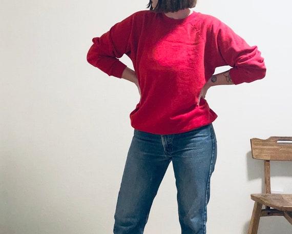 Vintage Fruit of the Loom Red Raglan Sweatshirt