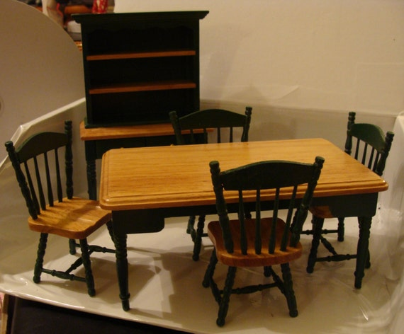 Green & Tan Set Wood Dollhouse Kitchen Table, 4 Chairs, and Hutch