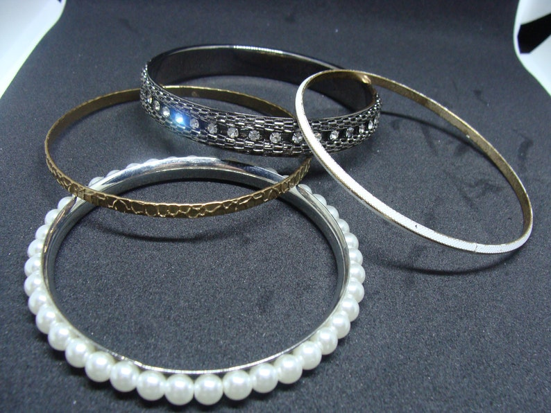 Pearl Beads on Silver Frame Large Bangles Black Bangle With Rhinstones 4 in the Lot