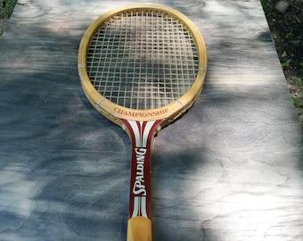 Vintage Spaulding Championship Tennis Racket -  Wooden Tennis Racket - Wooden Racket - Vintage Sports
