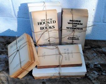 No Cover Books - Distressed Books - White Books - Vintage Books - Farmhouse - Cottage - Neutral Decor