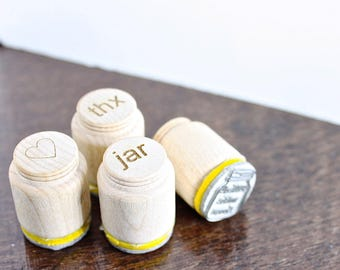 Gift Packaging Stamp Set - 4 mason jar rubber stamps - thank you, filled with love, lots of love, and fill it with love