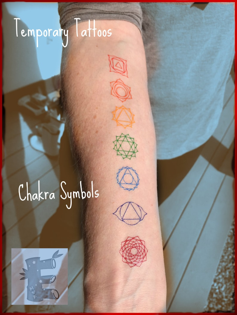 855dc75fe0fb0 Chakra Temporary Tattoos Matching Reiki colors Root | Etsy