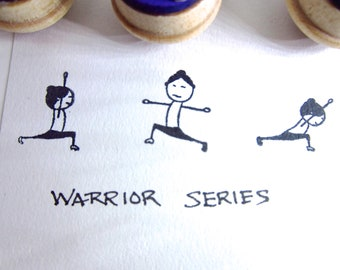 Yoga Stamps - Set of 3 warrior poses rubber stamps Virabhadrasana SMSET3 Y017 CLEARANCE