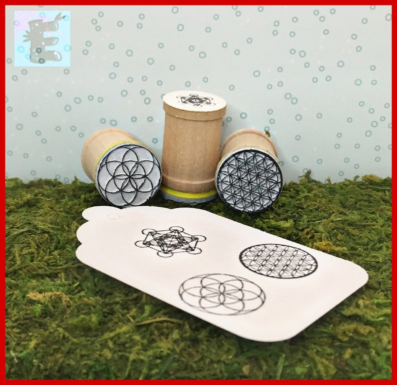 Seed of Life Metatron/'s Cube Trio Rubber Stamps Flower of Life