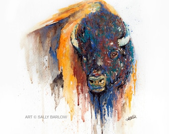 Watercolor Buffalo Bison Painting Art Print or Gallery Canvas
