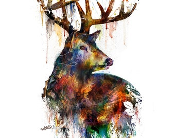 Deer Stag Painting Mixed Media Watercolor Double Exposure Landscape Art Print or Gallery Canvas