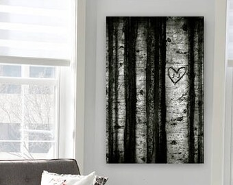 Custom Initials etched in heart Tree Aspen Illustration Vertical Art