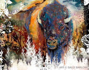 Watercolor Buffalo Bison Landscape Painting Mixed Media Art Print or Gallery Canvas