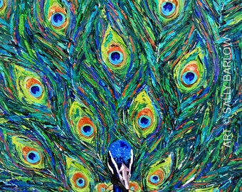 Bold and Vibrant Peacock Panting Art Print or Gallery Canvas