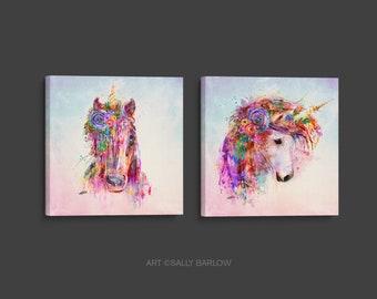 Gorgeous Unicorn Painting Mixed Media Canvas Gallery Wrap Set