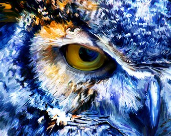 Great Horned Owl Digital Paintingl Decor Art Canvas Gallery Wrap