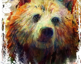 Grizzly Bear Painting Mixed Media Watercolor Double Exposure Landscape Art Print or Gallery Canvas