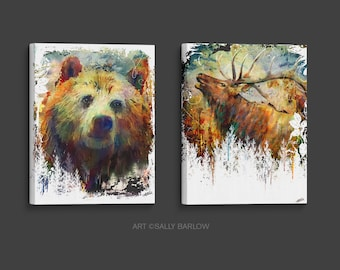 Grizzly Bear & Elk Painting Set Mixed Media Watercolor Double Exposure Landscape Art Print or Gallery  Canvas