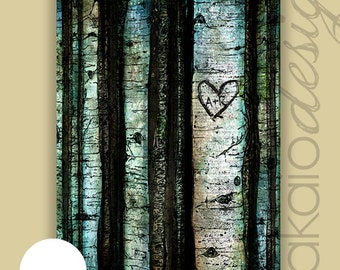 Personalized Christmas Gift -- etched initials in Aspen Tree Heart