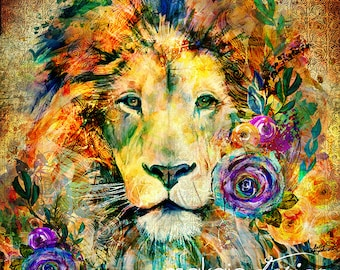 Garden of the Wild Lion with Vintage Background