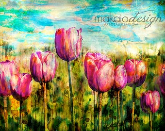 Horizontal Tulip Painting *Bright Beautiful Art Wall Decor on Canvas*