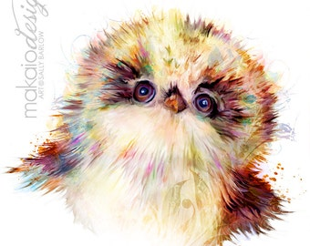 Adorable Baby Owlet Painting Mixed Media Canvas Gallery Wrap